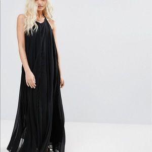 NWT Petite Pleated Black Maxi Dress ASOS